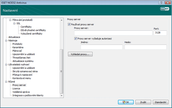 Nod32 ea proxy server Nastavení proxy serveru