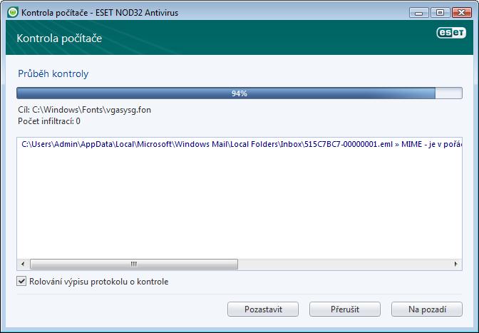 Nod32 ea scan window Kontrola počítače   okno