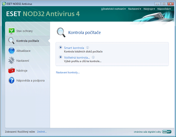 Nod32 ea scanner main Kontrola počítače