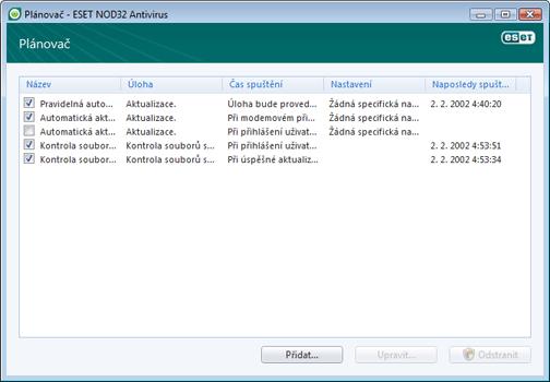 Nod32 ea scheduler window Plánovač   nové okno