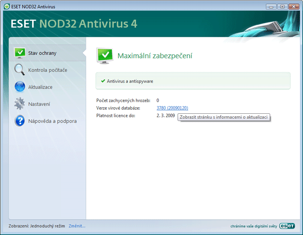 Nod32 ea simple mode Jednoduchý režim