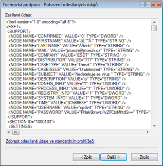 Nod32 ea support detect Potvrzení odesílaných údajů