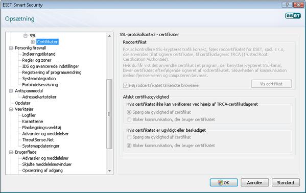 Nod32 config epfw ssl cert set Certifikater