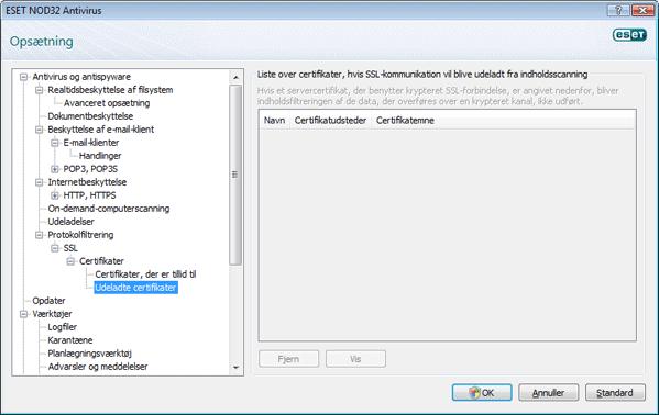 Nod32 config epfw ssl exclude Udeladte certifikater