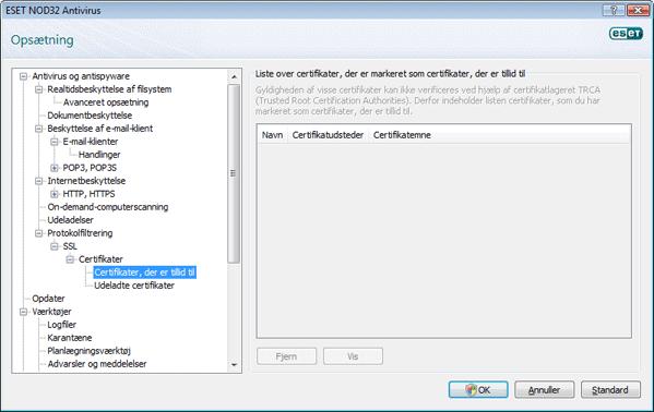 Nod32 config epfw ssl trusted Certifikater, der er tillid til