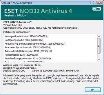 Nod32 ea about Om ESET NOD32 Antivirus