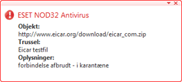 Nod32 ea antivirus behavior and user interaction Antivirusbeskyttelsens funktionsmåde og brugermedvirken