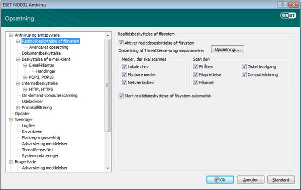 Nod32 ea config amon Realtidsbeskyttelse af filsystem