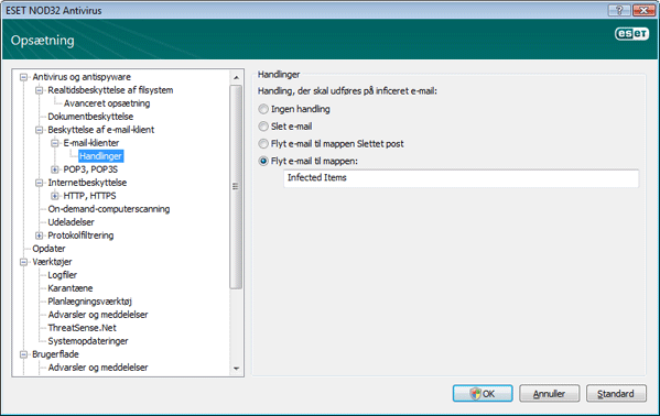 Nod32 ea config emon outlook Handlinger