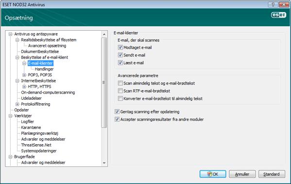 Nod32 ea config emon scan E mail beskyttelse