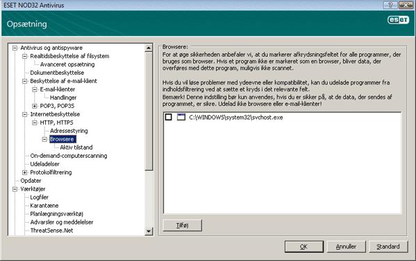 Nod32 ea config epfw browsers Browsere