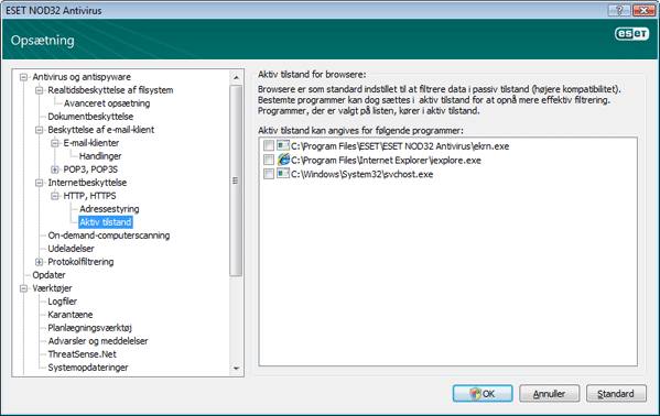 Nod32 ea config epfw browsers mode Aktiv tilstand for browsere
