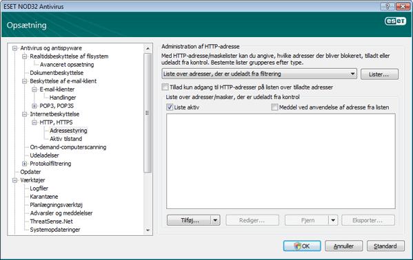 Nod32 ea config epfw scan http excludelist Administration af HTTP adresse