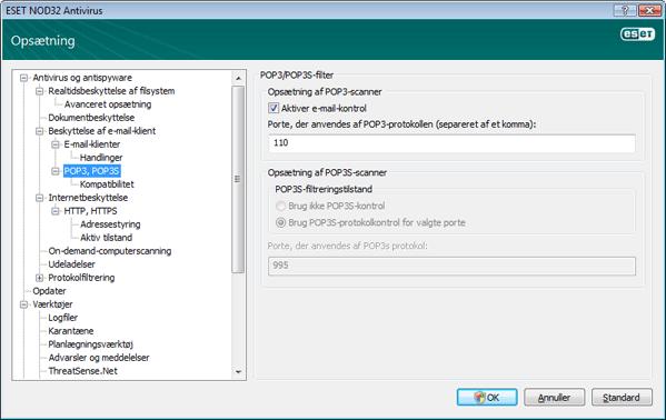 Nod32 ea config epfw scan pop3 POP3 kontrol