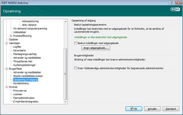 Nod32 ea config password Beskyttelse af opsætning