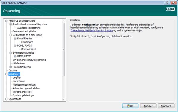 Nod32 ea config tools Værktøjer