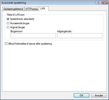 Nod32 ea config update lan Tilslutning til LAN