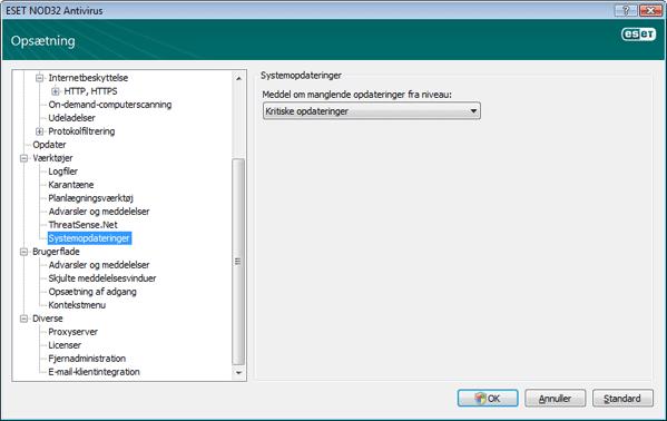 Nod32 ea config windows update Opdatering af operativsystem   indstillinger