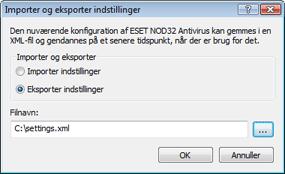Nod32 ea importexport config Importer og eksporter indstillinger