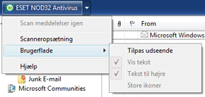 Nod32 ea oe toolbar Værktøjslinje til Outlook Express og Windows Mail