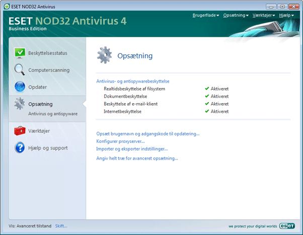 Nod32 ea page advanced settings Opsætning   avanceret tilstand
