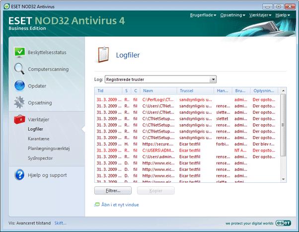 Nod32 ea page logs Logfiler