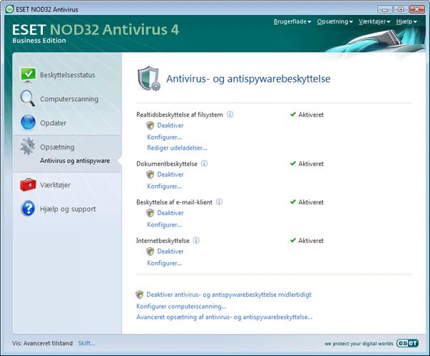 Nod32 ea page settings antivirus Opsætning af antivirusbeskyttelse