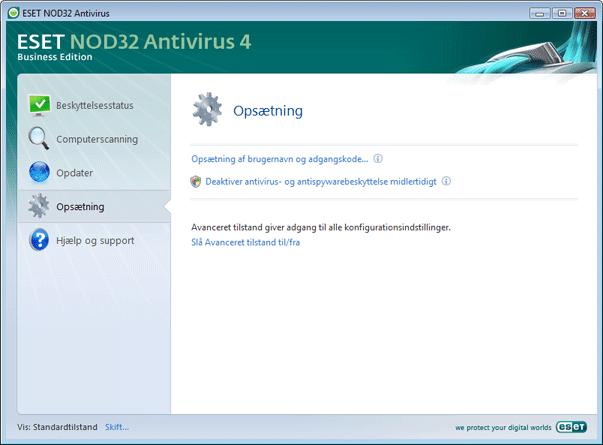 Nod32 ea page simple settings Opsætning   standardtilstand