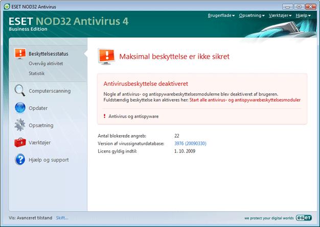 Nod32 ea page status 02 Hvad gør jeg, hvis programmet ikke fungerer korrekt?