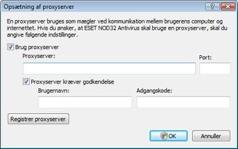 Nod32 ea proxy server Opsætning af proxyserver