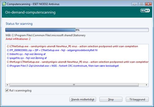 Nod32 ea scan window Computerscanning   vindue