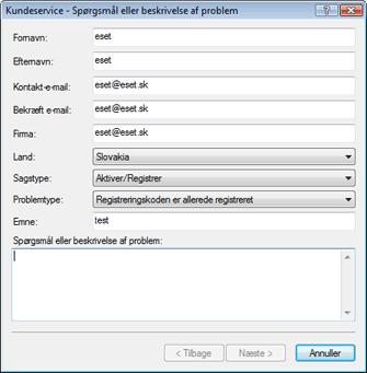 Nod32 ea support request Fejlfinding