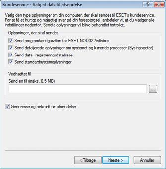 Nod32 ea support send Valg af data til afsendelse
