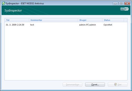 Nod32 ea sysinspector window ESET SysInspector   nyt vindue