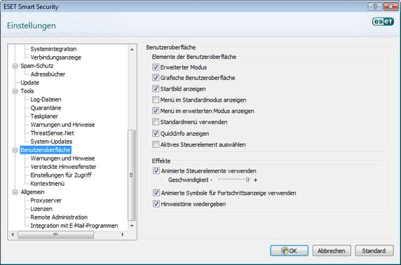 Nod32 config environment Benutzeroberfläche