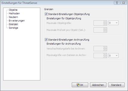 Nod32 config limit Grenzen