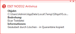 Nod32 ea antivirus behavior and user interaction Virenschutz – Verhalten und Benutzerinteraktion