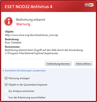 Nod32 ea antivirus behavior and user interaction 01 Eingedrungene Schadsoftware wurde erkannt