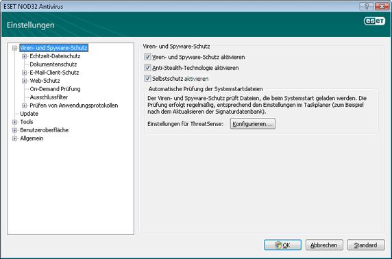 Nod32 ea config antivirus Einstellungen für Viren  und Spyware Schutz