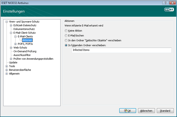 Nod32 ea config emon outlook Aktionen