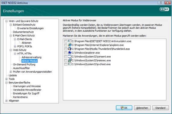 Nod32 ea config epfw browsers mode Aktiver Modus für Webbrowser