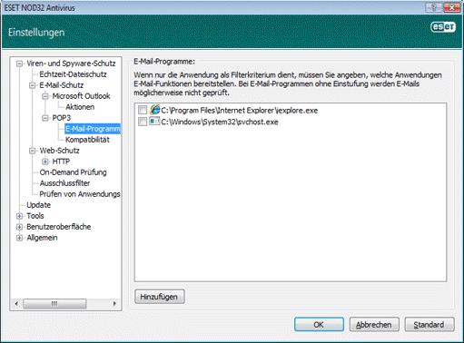 Nod32 ea config epfw email client E Mail Programme