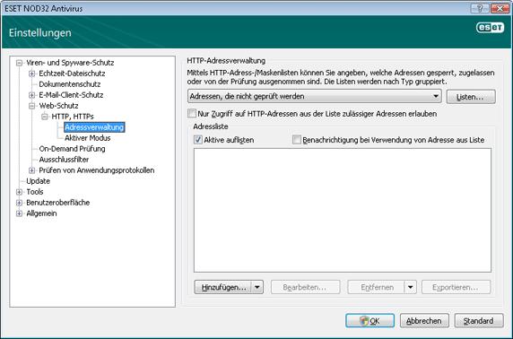 Nod32 ea config epfw scan http excludelist HTTP Adressverwaltung