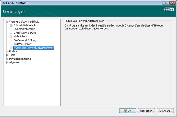 Nod32 ea config epfw scan main page Prüfen von Anwendungsprotokollen