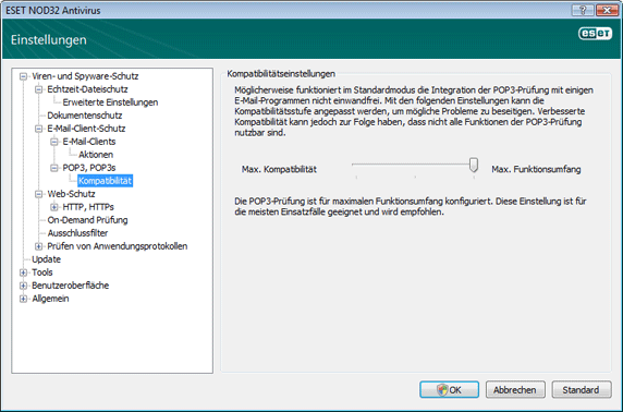 Nod32 ea config epfw scan pop3 comp Kompatibilität