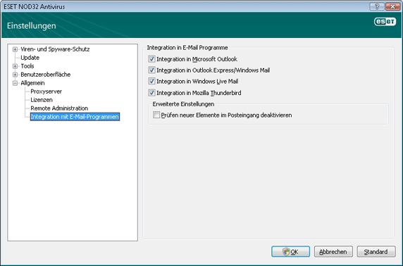 Nod32 ea config mailplugins Integration mit E Mail Programmen
