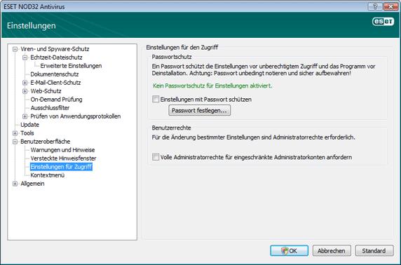 Nod32 ea config password Einstellungen schützen