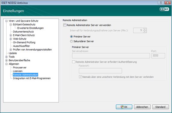 Nod32 ea config ra Remoteverwaltung