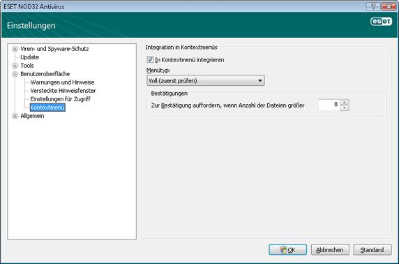 Nod32 ea config shellext Kontextmenü