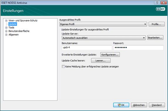 Nod32 ea config update source Einstellungen für Updates